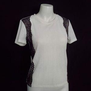Zara Lace Trim Top Semi Sheer Stretch Short Sleeve